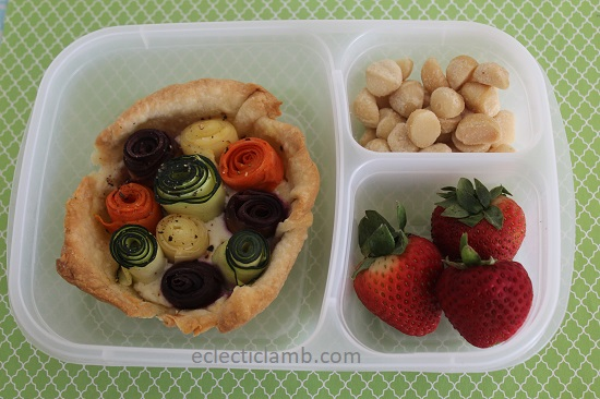 zucchini carrot rose tart lunch