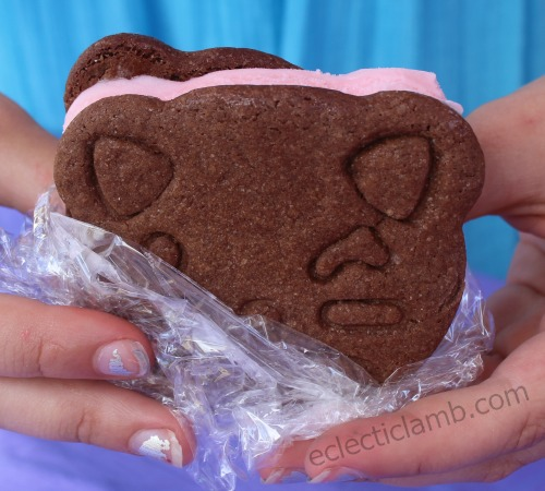 Chocolate Cat Cookie Strawberry Ice Cream Sandwich
