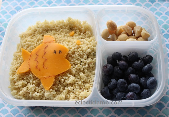 Fish Cheese Art over Couscous