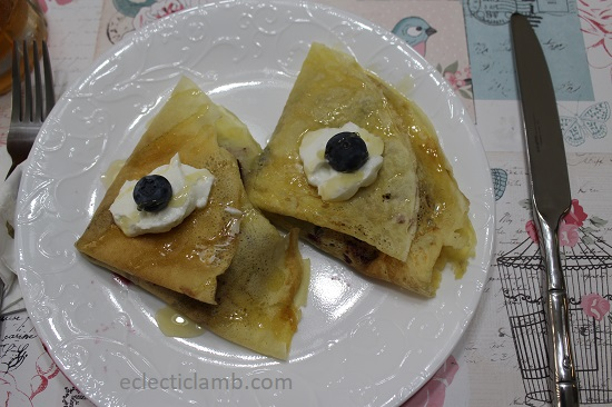 rhubarb blueberry crepes