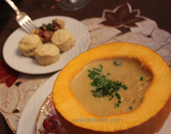 Pumpkin Soup with Cheddar Sage Biscuits