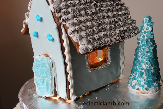 Blue Gingerbread House Close