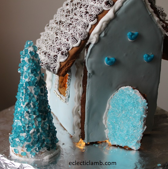 Blue Tree Gingerbread House