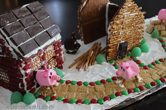 Brick and Stick Gingerbread Houses with Pigs