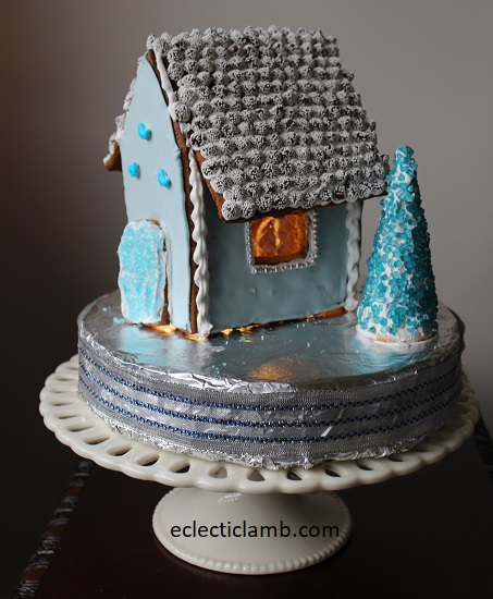 Small Blue Gingerbread House on Cake Stand
