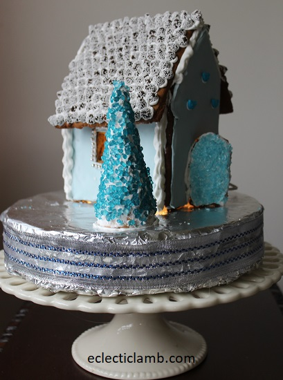 Snow Caps Roof Blue Gingerbread House