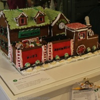 Gingerbread Train Depot and Santa Train