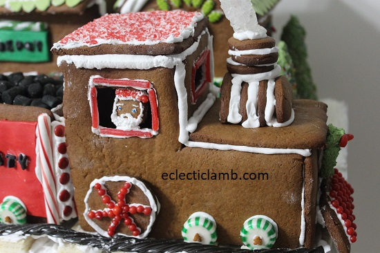 Gingerbread santa driving train