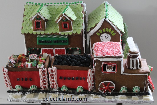 Gingerbread Train Station and Santa Train