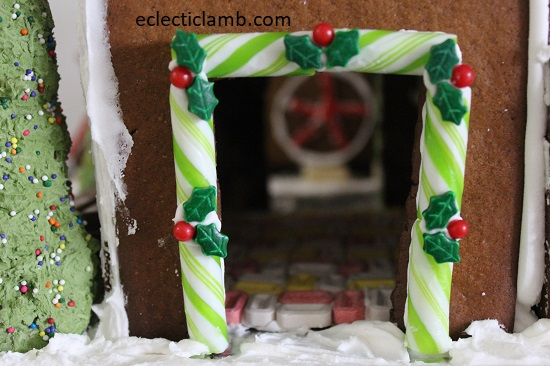 gingerbread view through breezeway