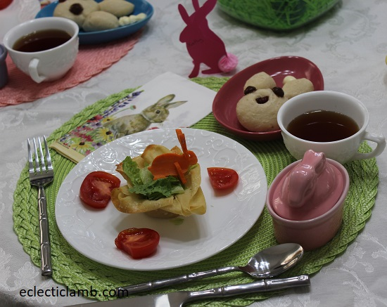 Easter Dinner basket salad bunny bread