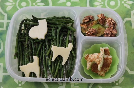 Cat Cheese over Asparagus and Rice