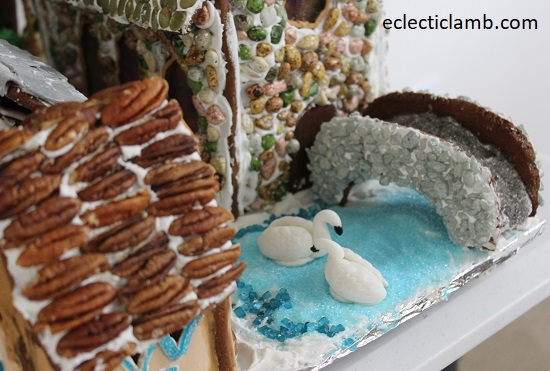 Gingerbread Village with Swans and Bridge