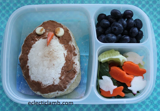 penguin bread lunch
