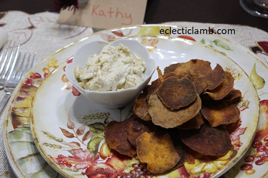 Sweet Potato Chips with Vegan Onion Dip