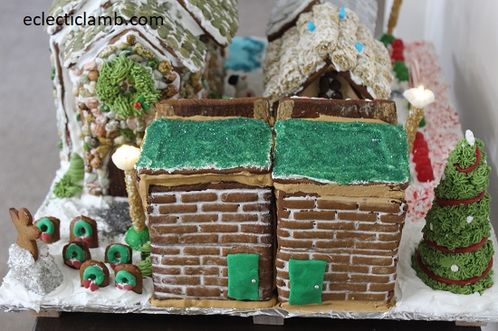 Brick Buildings Side of Gingerbread Village