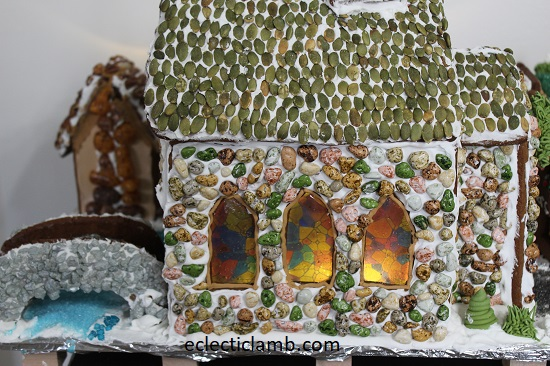 Gingerbread Church Back with Lights
