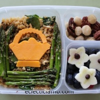 Cheese Basket over Asparagus Quinoa