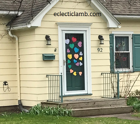 colorful hearts on door