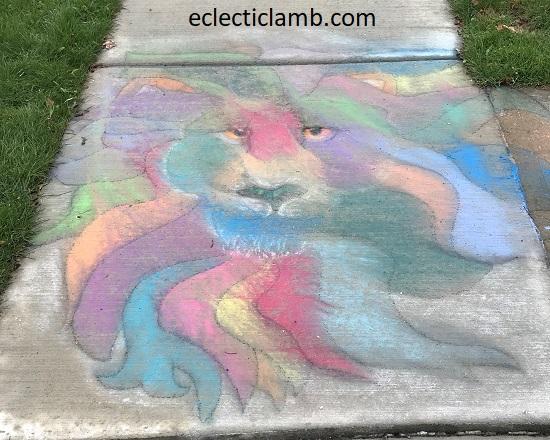 Lion Chalk Art