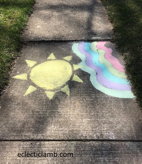 Sun and Rainbow Chalk Art