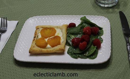 beet tart with spinach salad lunch