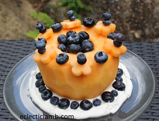 Fresh Cantaloupe Cake Blueberries